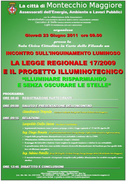 Montecchio Maggiore (VI) – 23 Giugno: incontro sull'Inquinamento Luminoso