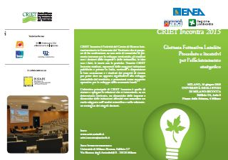 16 Giugno 2015 CRIET Incontra: Procedure e incentivi per l'efficientamento energetico