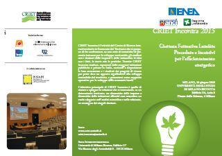 16 Giugno 2015 CRIET Incontra: Procedure e incentivi per l'efficientamento energetico