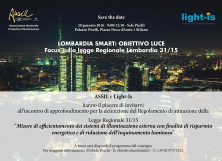 29 gennaio 2016 – Palazzo Pirelli – Lombardia Smart – Obiettivo  Luce