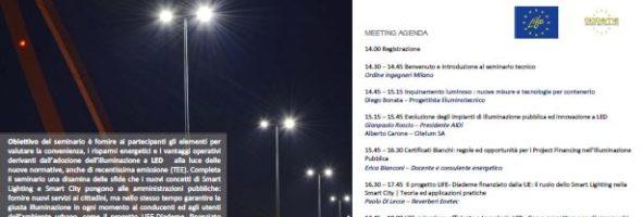 """21 Marzo 2019 – Milano: Seminario """"Illuminazione a LED, il progetto LIFE Diademe ed i Certificati Bianchi"""""""