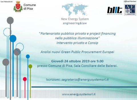 24 Ottobre 2019 – Pisa Convegno: PPP & Project nella Pubblica Illuminazione e nuovi GPP Europei